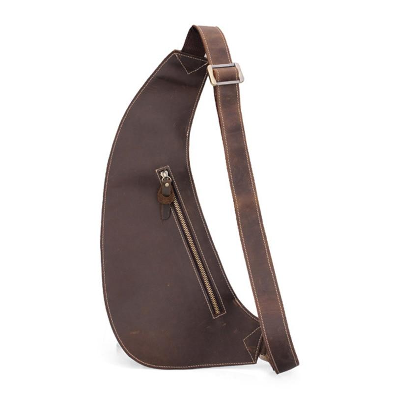 ФОТО Men Crescent Retro Sling Messenger Bag Crossbody Bag Cowhide Leather Chest Pack Men Bag 2016 New