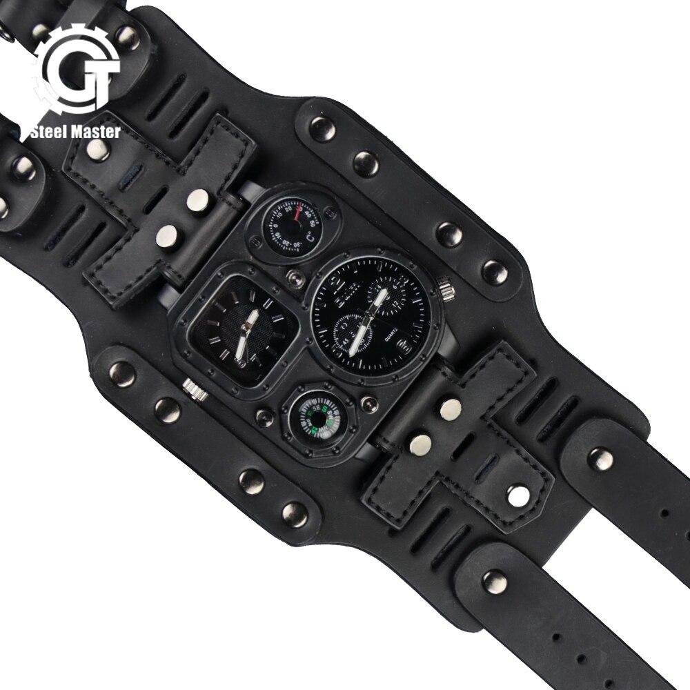 2020 montre hommes Steampunk Vintage multifonction classique montre en acier inoxydable bracelet en cuir Sport mécanique militaire montre-bracelet