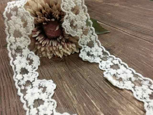 Beige DIY Handmade Accessories Mesh Lace Cotton Embroidery Lace Wide 4CM