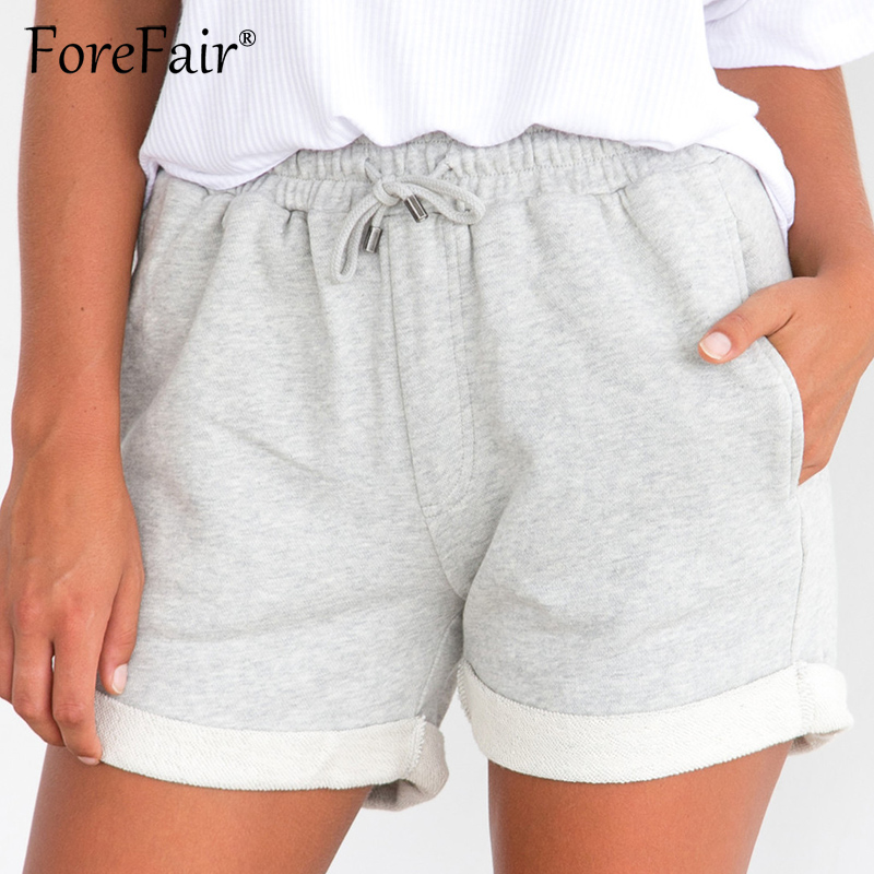Forefair Summer Casual Curled Side Shorts Women Knitted Sweat Shorts Ladies Drawstring Elastic Waist Pocket Short Pants