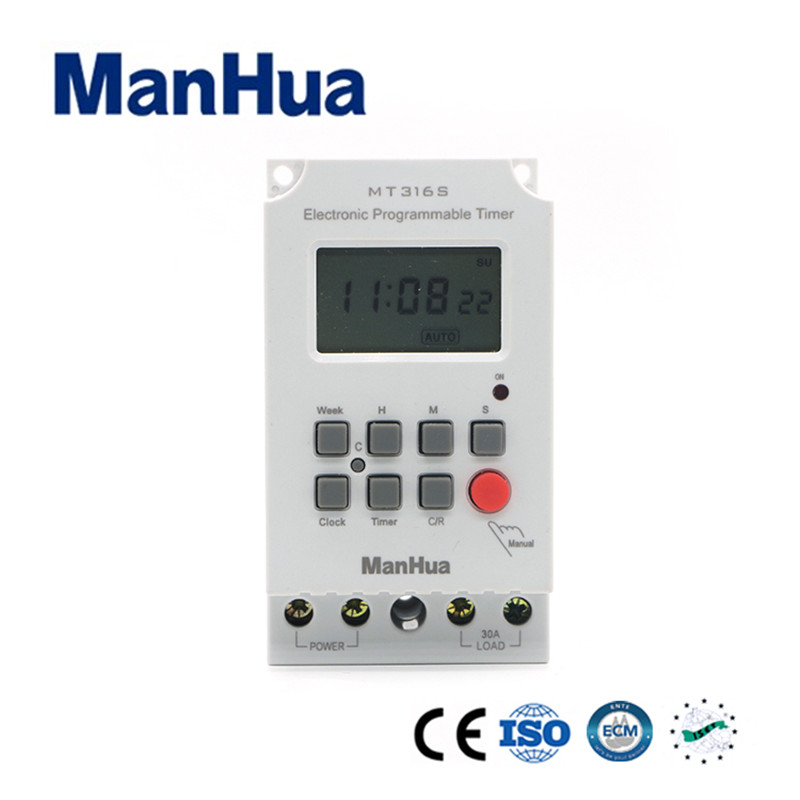 Manhua 220V AC Input 7 Days Programmable 24hrs TIMER SWITCH Time Relay Output