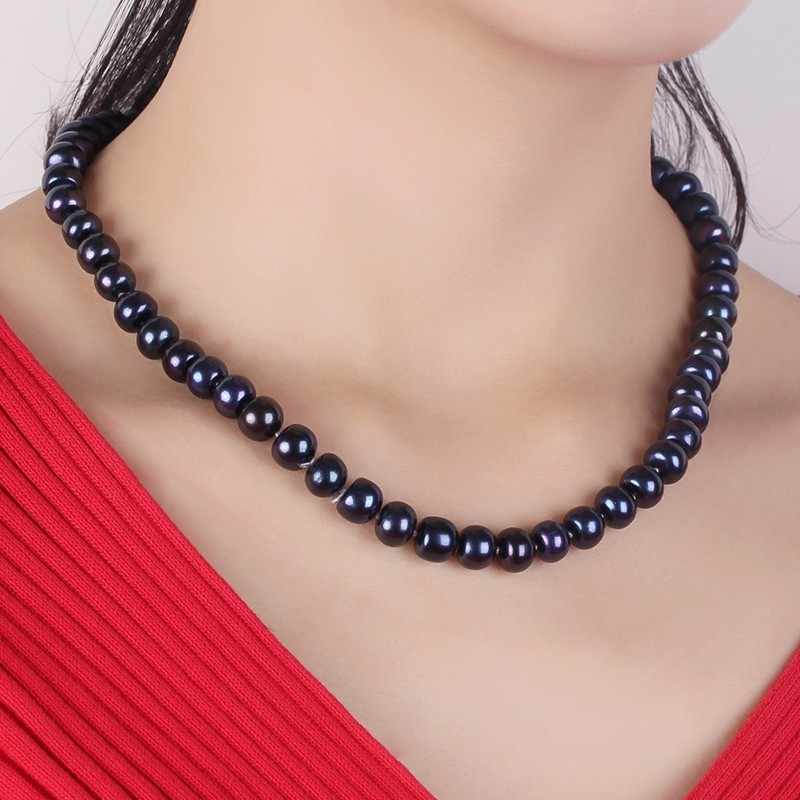 Women Natural Black Freshwater Pearl Jewelry Necklace,925 Sterling Silver Necklace,9-10mm Beads Jewelry,Life Tree Buckle 2019