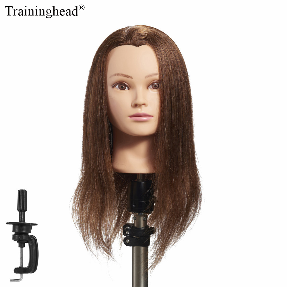 100% real human hair hairdresser cosmetology silicone practice training mannequin manikin head doll with mount hole Traininghead 20-22Mannequin Head 100% Human Hair Hairdresser Training Head Manikin Cosmetology Doll Head(Clamp Stand Included)