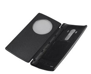 Image 3 - Pour LG G4 étui de cercle intelligent rapide couverture arrière en cuir à rabat officiel de luxe avec charge sans fil NFC et Qi