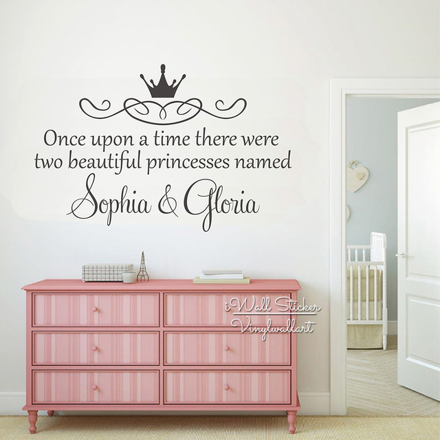 Custom twins name wall sticker girls name wall art decal children room baby nursery name wall