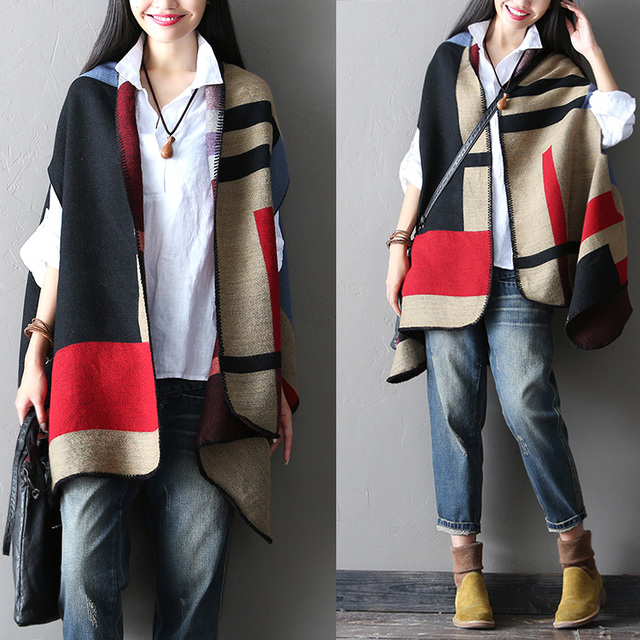 Geometry patchwork cape women's fashion inequilateral loose-fitting outerwear – Red
