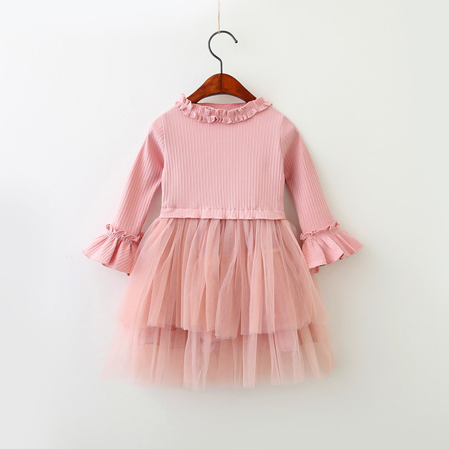 ba778e11a New Autumn Baby Girls Flare Sleeve Mesh Dresses