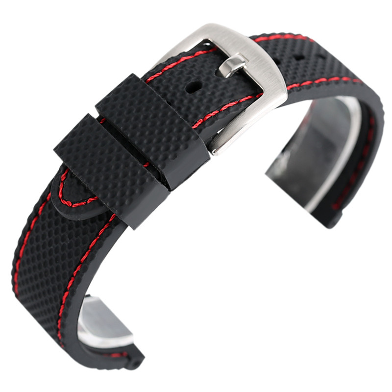18mm 20mm 22mm 24mm Black Blue Silicone Watchband Sport Military Bracelet Pin Buckle Watch Strap for Wristwatches + Spring Bars black blue gray red 18mm 20mm 22mm waterproof silicone watchband replacement sport ourdoor with pin buckle diving rubber strap