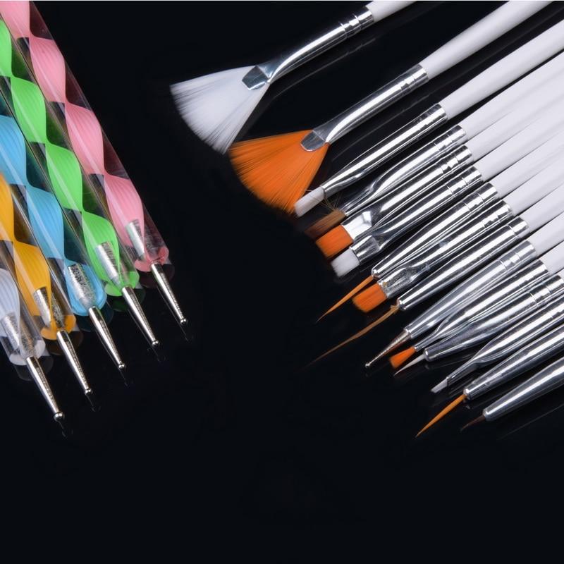 20pcs/set Art Design Painting Tool Pen Polish Brush Set Kit Professional Nail Brushes Styling Nail Art tools 2017 20pcs nail art design dotting painting drawing polish brush pen tools makeup brushes