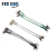 10pcs 15/20/25/30cm Stainless Steel Wire Leader Fishing Leash With Swivel 20LB Leadcore For Line Accessories
