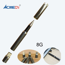 Free shipping 2014 New Arrival High Quality Carbon Fiber Ball Pen with USB Flash Drive цена