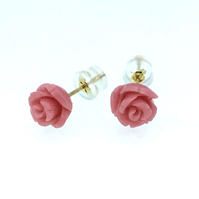 Aliexpress buy ani 18k yellow gold au750 coral women stud ani 18k yellow gold au750 coral women stud earrings natural color coral flowers lady mightylinksfo