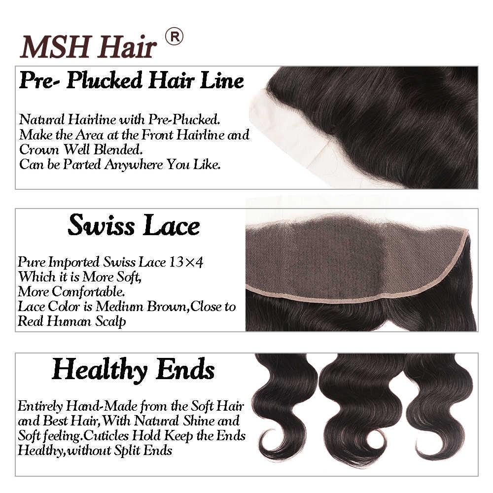 MSH שיער 13x4 תחרה פרונטאלית סגר עם חבילות ברזילאי גוף גל שיער טבעי חבילות עם סגירת תחרה שאינו רמי בינוני יחס