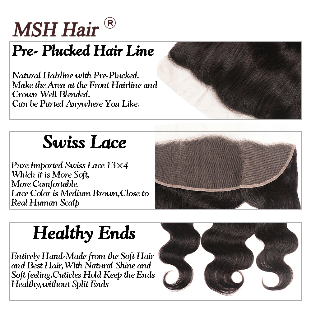 MSH Hair 13x4 Lace Frontal Closure With Bundles Brazilian Body Wave Human Hair Bundles With Lace Closure Non Remy Natural Black in 3 4 Bundles with Closure from Hair Extensions Wigs