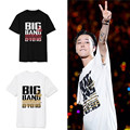 Kpop bigbang album made red stirpes t shirt short sleeve o neck gd taeyang t-shirt casual vip's plus size black top k-pop tees