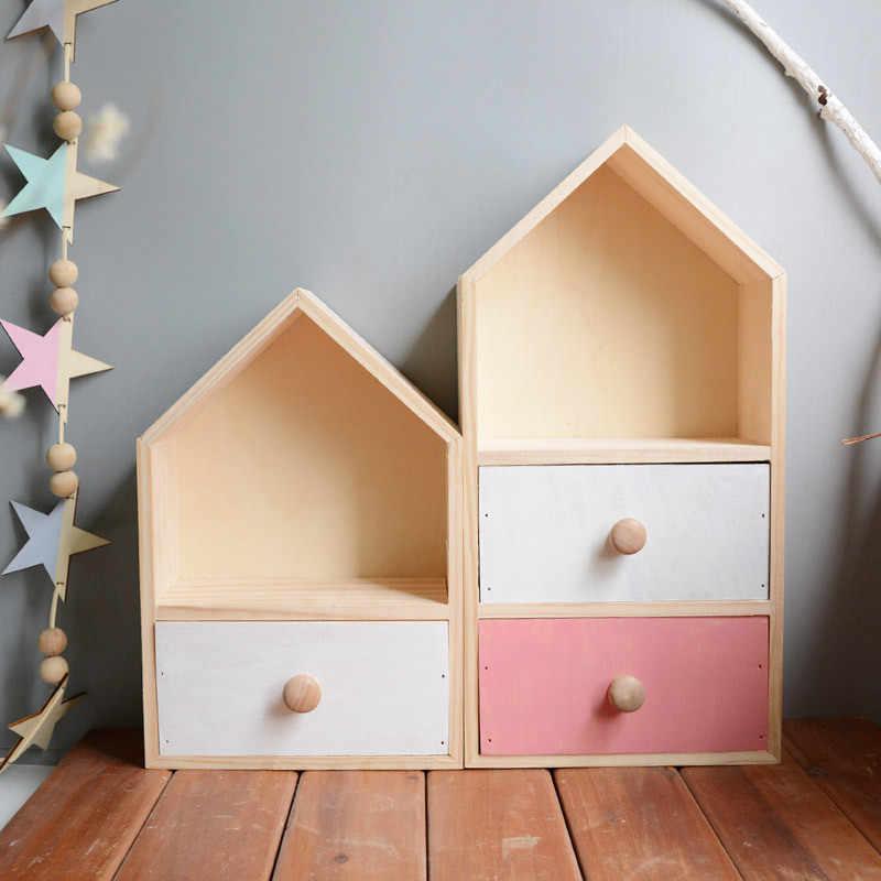 Armário de armazenamento de canto de madeira simples prateleira do quarto da menina brinquedos cosméticos caixa de armazenamento escritório desktop gaveta rack decoração para casa artesanato