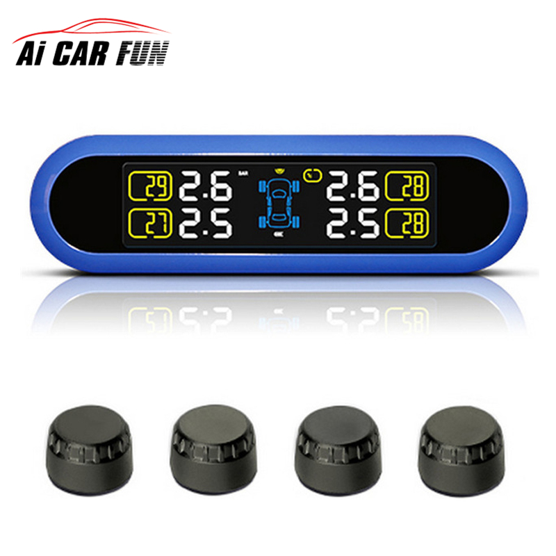 Solar Power TPMS LCD Display Car Wireless Tire Tyre Pressure Monitoring System 4 external/internal Sensors For 4 wheels Cars careud u903 wf tpms wireless tire pressure monitor with 4 external sensors