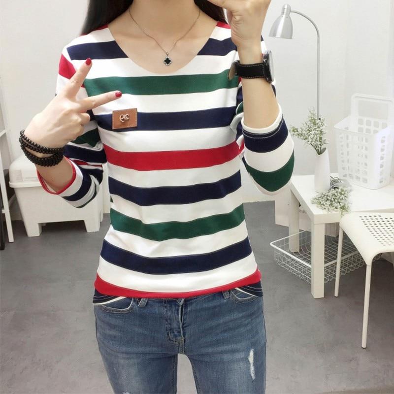 HTB1XK 6GN9YBuNjy0Ffq6xIsVXay - Autumn Korean Female harajuku Long Sleeve T-shirt Women Colorful