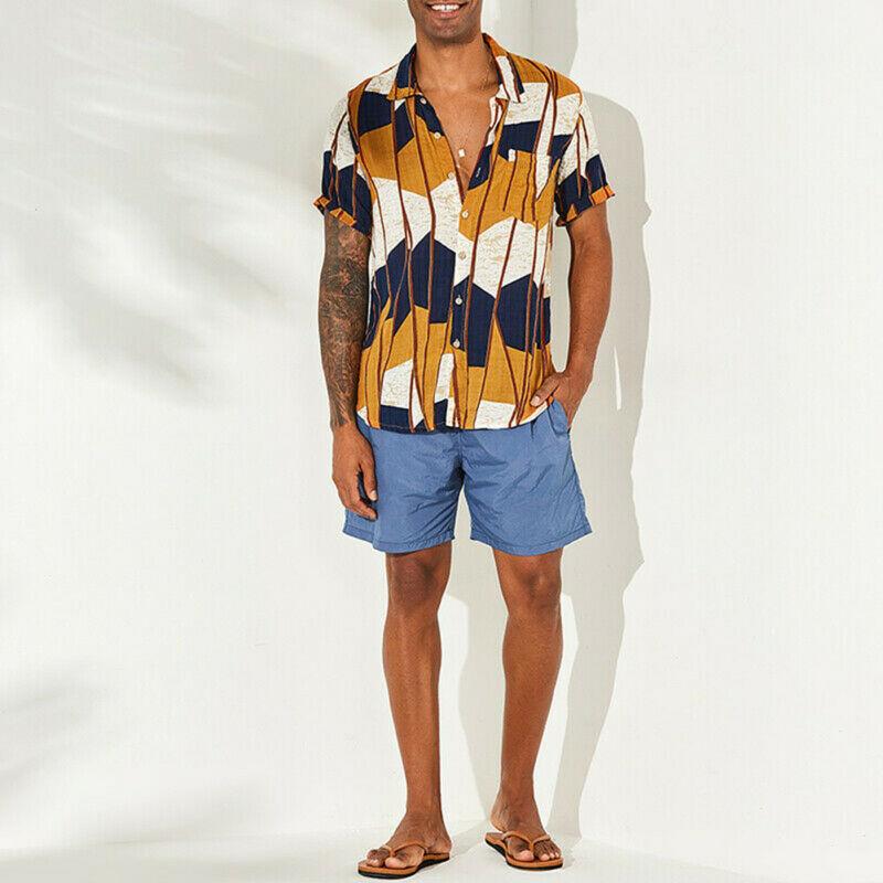 Men Floral Print Short Sleeve Blouse Hawaiian Shirts Summer Beach Holiday Shirt Blouse Tops