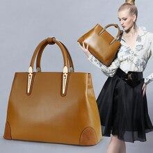 Классические новые женские сумки из натуральной кожи, модные женские сумки-тоут из воловьей глазурованной кожи
