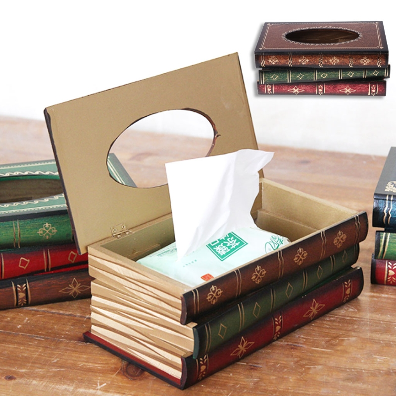 Retro Style Book Shape Wooden Print Tissue Box Bathroom Vanity Home Decoration Tissue Boxes