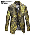 Gold Floral Blazer For Men M-5XL Fashion 2017 New Brand Mens Party Slim Fit Blazer Designs DT450