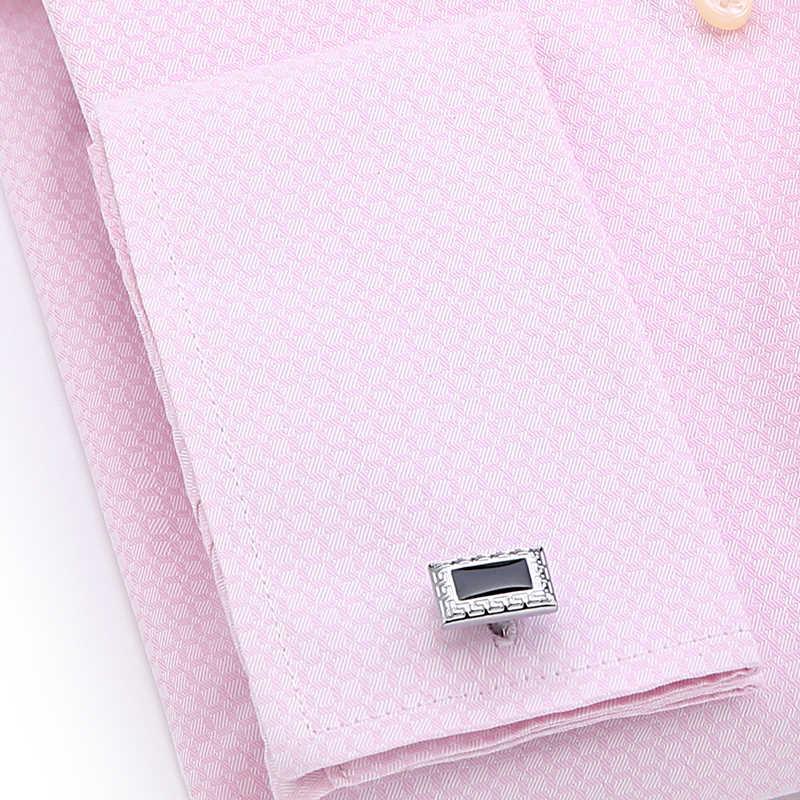 Los hombres de manga larga Hombre Camisas Casual de puño francés camisas 4XL hombres francés camisa gemelos 2019 nuevo Jacquard rosa tela
