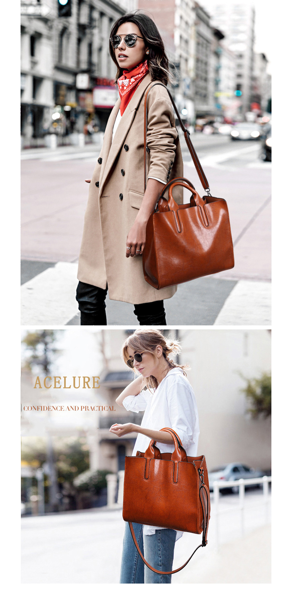 Women's Pure Tote Leather Handbag By Acelure 1