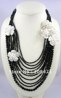 Mother of Pearl Shell Crystal Glass Flower Layered Necklace