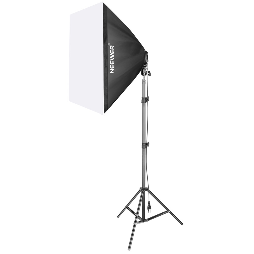 Neewer 1000W Photography Studio Softbox Lighting Kit: Light Stand+ Light Bulb+5 Socket Light Holder+20x27 inches Soft box(EU)