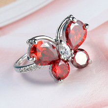 New 100% Authentic 925 Sterling Silver Butterfly&Sparkling Garnet CZ Finger Ring for Woman Jewelry Wedding Gift