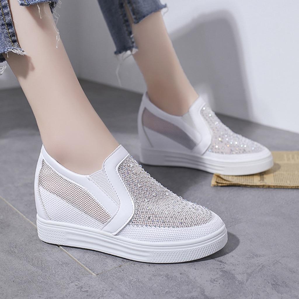 Slip-On Shoes Rhinestone Bottomed Lazy Breathable Large-Size Women's Mesh Wedges Elastic-Band