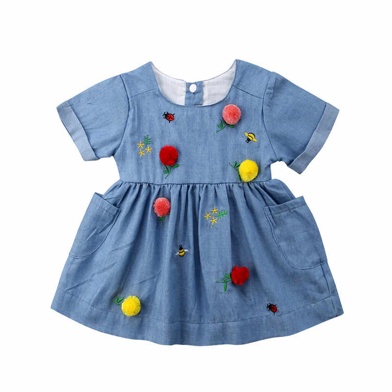 Cute Toddler Kids Baby Girl Clothes Baby Girl Dress Embroidery Party Pageant Dress Casual Clothes
