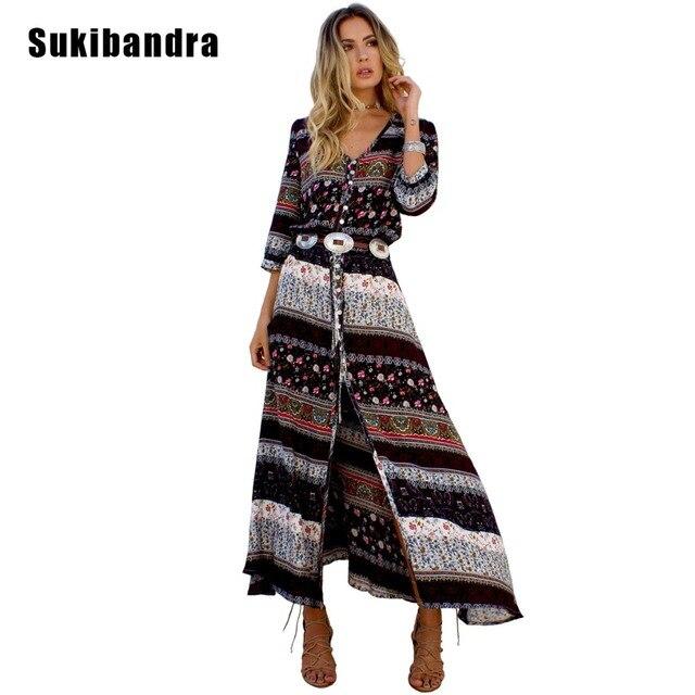 76b5c027916 Sukibandra 2018 Floral Print Boho Women Clothing Long Beach Maxi Straight  Dress Bohemian Summer Vintage Casual