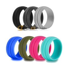 цены на 7pcs/set 8.5mm 100% Food Grade FDA Silicone Ring 6-12 Size Hypoallergenic Crossfit Flexible Silicone Finger Rings For Men Women  в интернет-магазинах