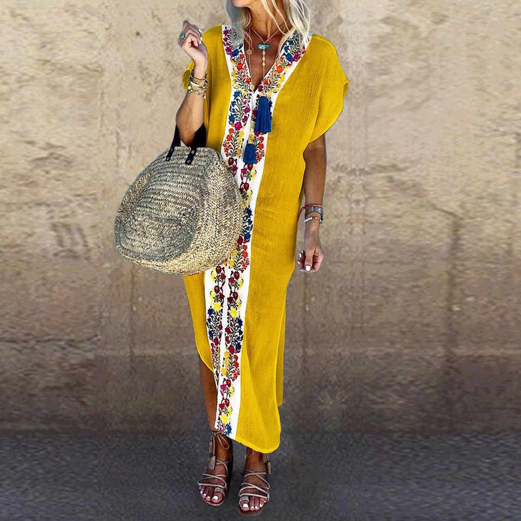 קיץ שמלת נשים קיצי vestido robe femme שמלת וינטג בוהמי V-צוואר קצר שרוול קפלים מודפס צבע סדק שמלה #50