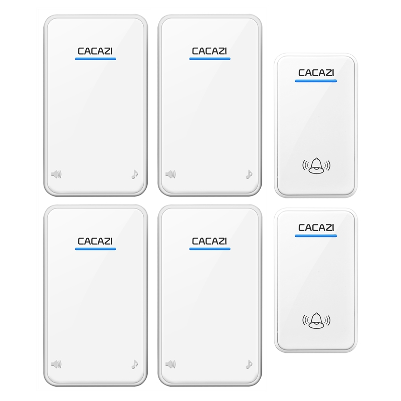 CACAZI AC 100-240V door bell 2 waterproof buttons+4 receivers wireless doorbll 48 rings door chime UK/US/EU plug ring bell 2 receivers 60 buzzers wireless restaurant buzzer caller table call calling button waiter pager system