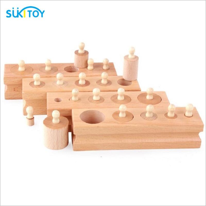 Montessori Educational Wooden Toys Blocks Cylinder Socket For Children Speelgoed Nice Gift For Preschool Early Learning