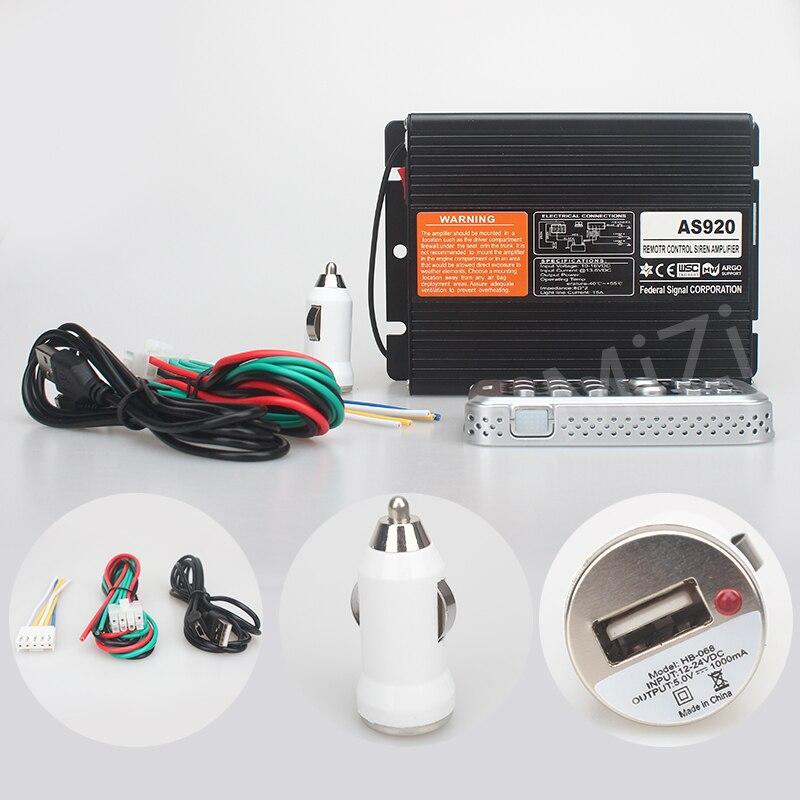 imágenes para DC12V Control Remoto Inalámbrico 200 W Sirena de Alarma de Coche amplificador de 20 Tonos, 2 interruptores de luz Cuerno AS920 Sirena de Policía Sin Altavoces