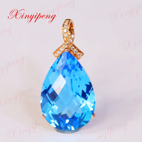 Xinyipeng 18 К цвета розового золота с бриллиантами инкрустированные Голубой топаз камень кулон стиль красивых женщин модель