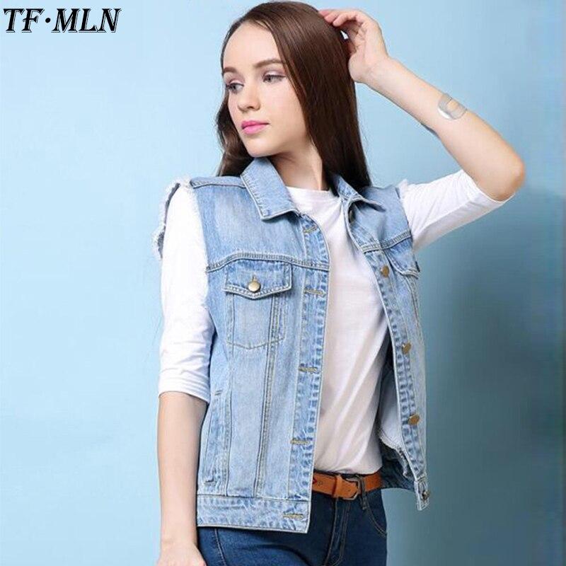159e48de685 Summer Jeans Vest Woman Sleeveless Top Short Coat Vintage Denim Jacket  Gilet Casual Cardigan Colete Manteau