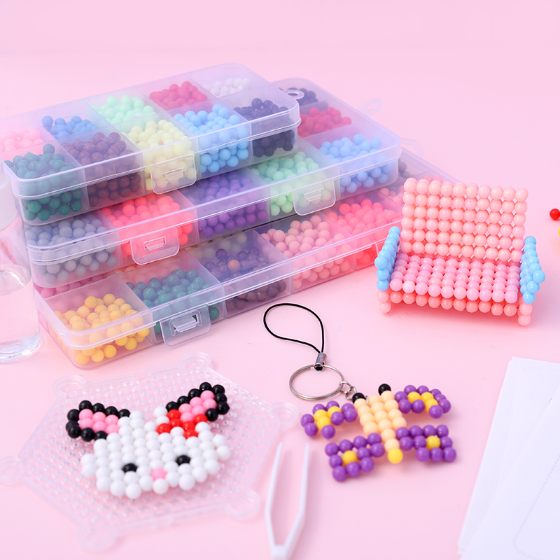 4000pcs DIY Beads 3D Puzzle Craft Handmaking  Bead  Puzzle Toys Kids Educational Toys  with plastic box