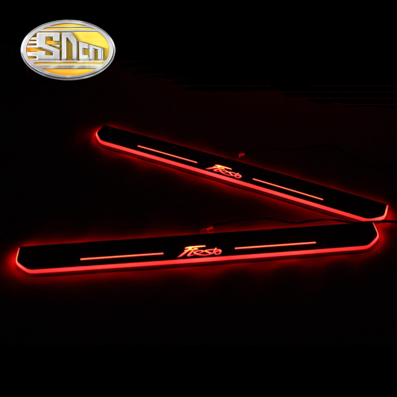 SNCN 4PCS Acrylic Moving LED Welcome Pedal Car Scuff Plate Pedal Door Sill Pathway Light For Ford Fiesta 2009 - 2017 2018 2019