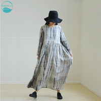 LinenAll Women's Dotted Lines Handmade Plant Tie Dye 100% Ramie Loose O neck Dress Robe Female