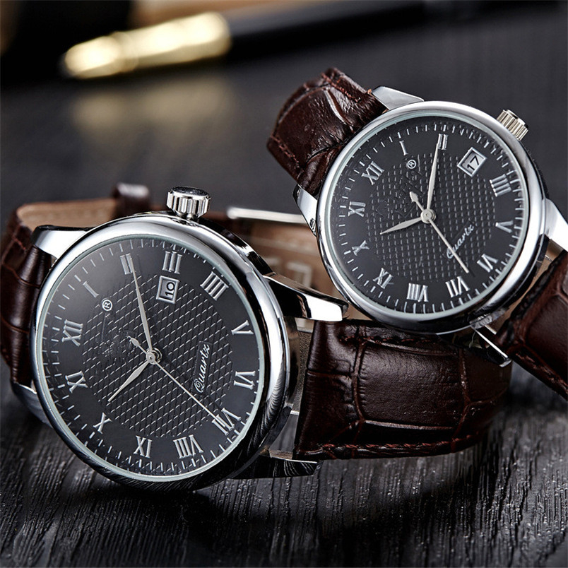 OTOKY 1 Pair Watches Leather Quartz Date 1PC Men Watch+ 1PC Women Watch For Couple Minim ...