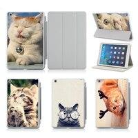 Güzel Kedi PU Deri Flip Case iPad 2 Için Apple iPad Hava 2 Için 3 4 5 6 Mini 1 2 3 4 Kılıf Kapak Kılıf Standı Ücretsiz nakliye