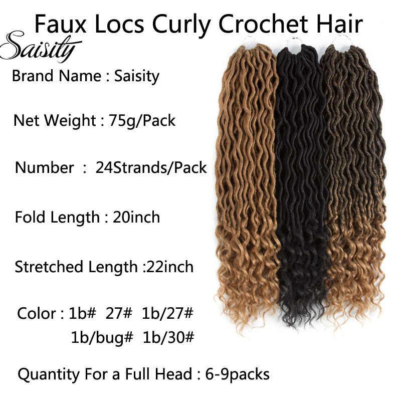 Saisity bohemio Faux Locs Crochet trenzas trenzado cabello a granel extensiones de cabello de ganchillo pelo sintético Ombre trenzas
