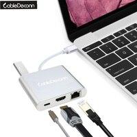 USB-C USB 3.1 Tipo C a HDMI 4 K VGA USB OTG e Gigabit Ethnernet RJ45 e USB-C USB3.0 Femmina Adattatore del Caricatore Del Computer Portatile 2017 Prodotto Caldo