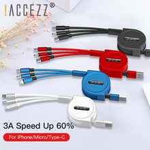 !ACCEZZ 3A 3 in 1 USB Retractable Cable Fast Charging For iPhone 8 XS Micro Type C Samsung Xiaomi Huawei Phone Cord 1.2M