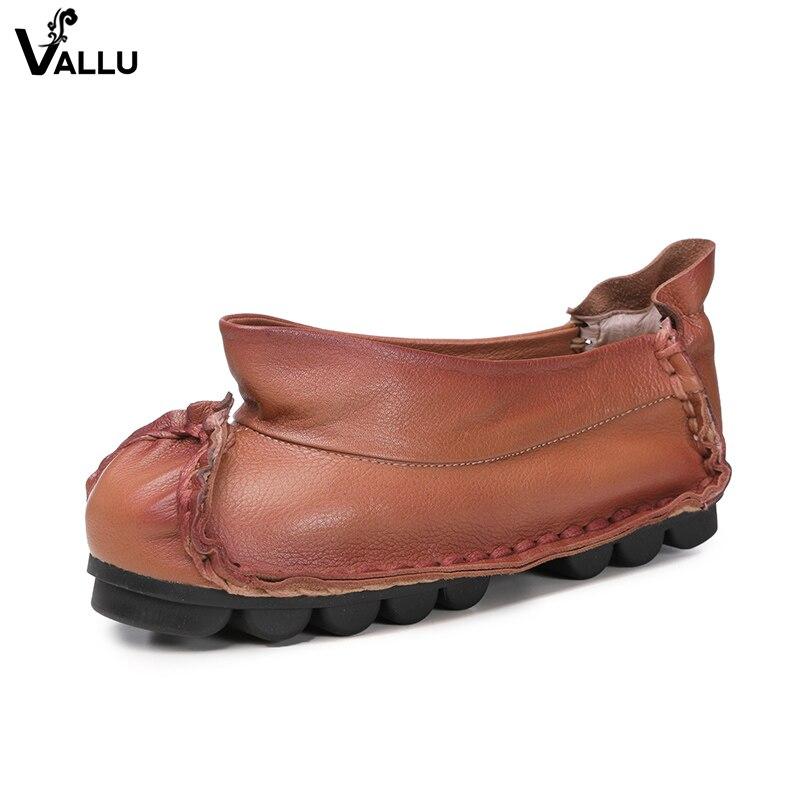Dernières chaussures plates auto Design femme 2018 en cuir véritable confort femme chaussures nouveauté Style rétro chaussures plates pour femme-in Chaussures plates femme from Chaussures    2